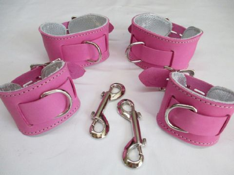Leather Princess/Prince Locking Restraint Cuff Set (4 Cuffs)
